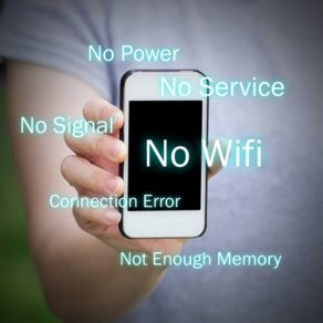 All common problems of smartphone. No service, no power, no wifi, no signal, connection error and not enough memory
